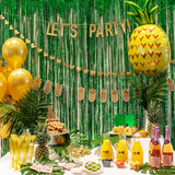 Tropical Party Set Up with Pineapple Balloon and Let's Party Garland