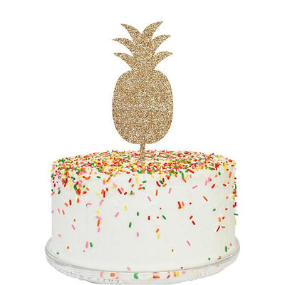 Gold Acrylic Pineapple Cake Topper in White Cake