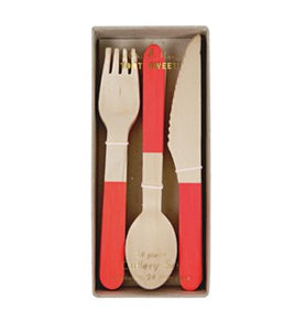 Red Tipped Wooden Cutlery Party Essentials