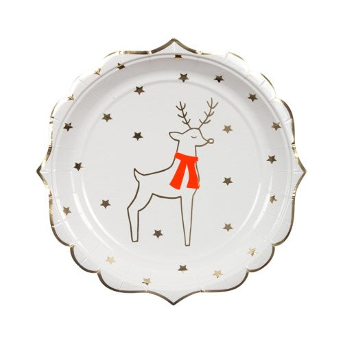 Reindeer and Stars Paper Party Plates