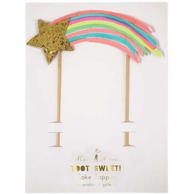 Shooting Star Neon and Gold Cake Topper