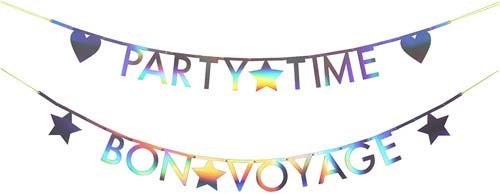Silver customizable letter banner for any party. Each to use and spell out phases such as Happy Birthday, Happy Anniversary, Congratulations or Welcome Baby