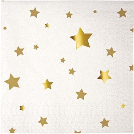Gold and White Star Cocktail Napkins
