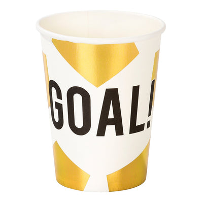 Gold and white soccer cups with the word GOAL!
