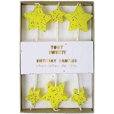 Perfect Party in a Box Yellow Star Candles Party Supplies