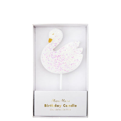 Large White Swan Birthday Candle with iridescent shimmer and gold details