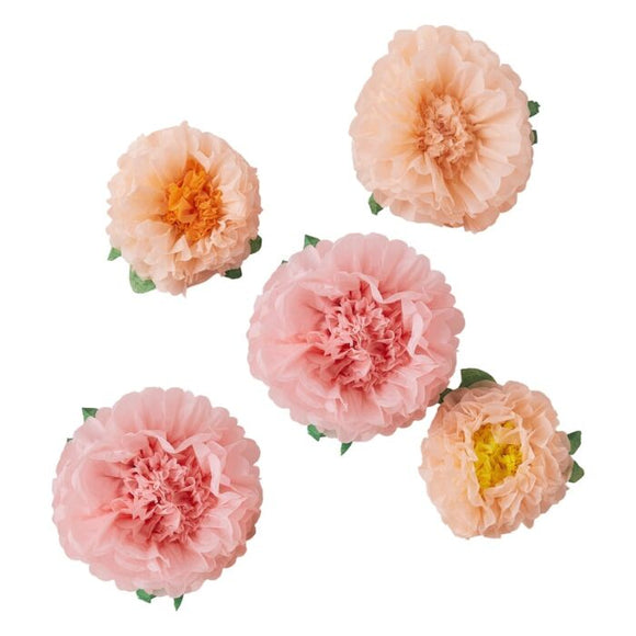 Tissue Paper Flower Pom Poms in peaches and pinks
