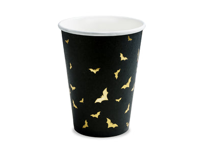 Black and Gold Bat trick or treat party cups