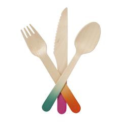 Wooden Cutlery with Red, Green and Orange Ends