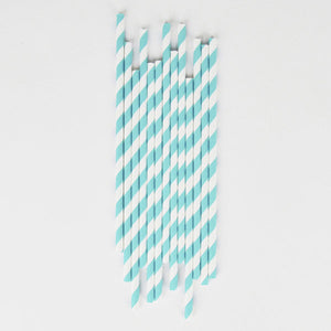 Turquoise Striped Straws