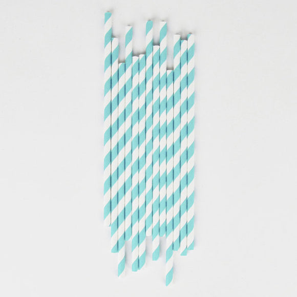Turquoise Paper Striped Straws Party Supplies