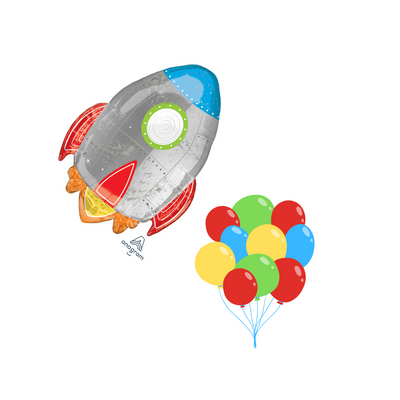 Rocket ship balloon cluster filled with helium. In colours in green, silver , blue, red and yellow.