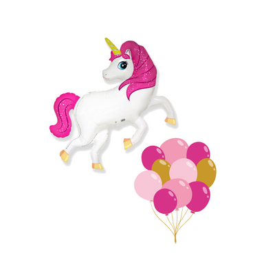 Unicorn mylar balloon with match latex balloons filled with helium. In shades of pinks and gold