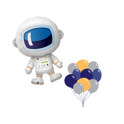 Space man foil balloon with matching latex balloons in colours of blues, silvers and oranges all filled with helium