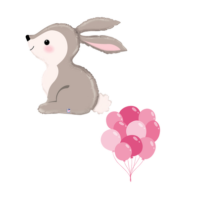 the cutest grey bunny with rosy pink cheeks, paired perfectly with shades of pink helium filled balloons.