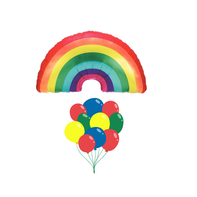 Rainbow jumbo balloon with matching rainbow latex balloons filled with helium