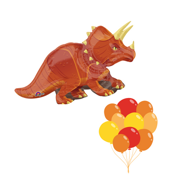 dinosaur balloon with matching coloured latex in oranges, reds and yellows. All filled with helium for your birthday party.
