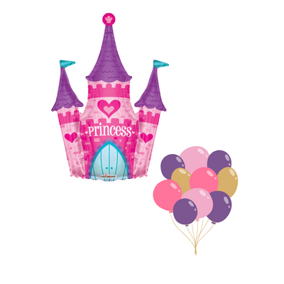 Princess castle balloon in pinks, purples and a hint of teal. Matching latex balloons all filled with helium