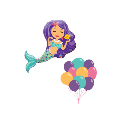 Mermaid cluster balloon bunch filled with helium in shades of purple, teal and pink