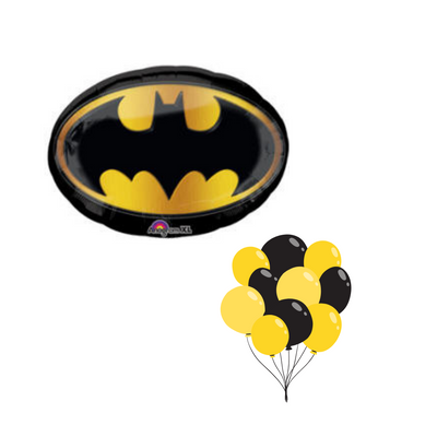 Batman balloon cluster with the batman emblem and balloons filled with helium in shades of yellow and black