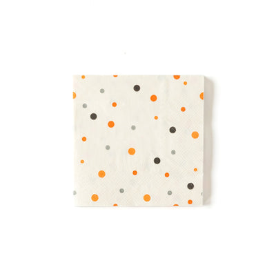 Vintage Halloween Napkin, with polka dots in orange, black and grey