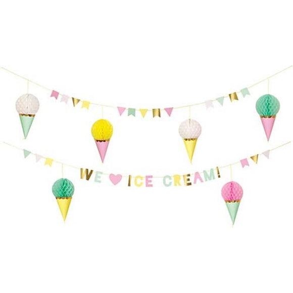 Ice Cream Party Banner Decoration