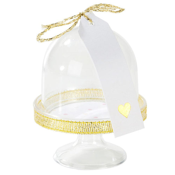Mini we heart pink, gold detailed cake dome