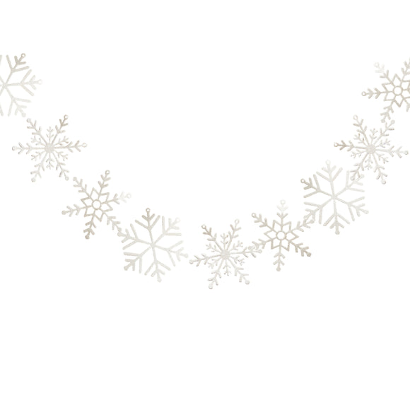 White Glitter Snowflake Garland Decorations