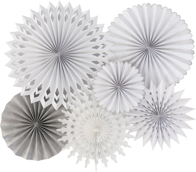 Winter white paper and tissue fans perfect for holiday events or frozen themed birthdays