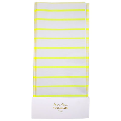 Yellow striped tablecloth on a white background