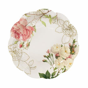 White paper plate with floral design
