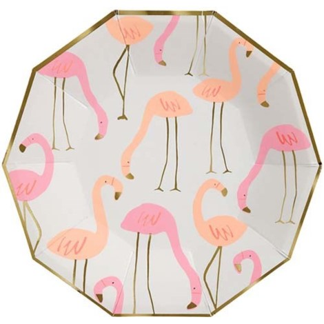 Neon Pink and Orange Flamingo Design Paper Party Plates