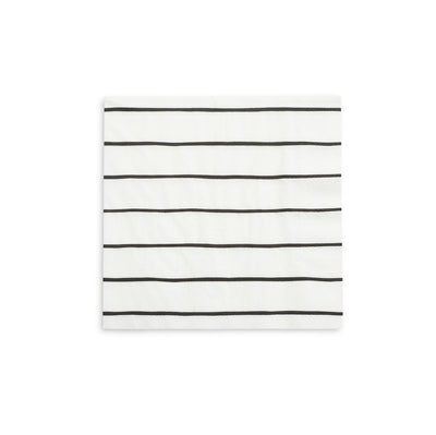 White Square napkins with thin Black Stripes