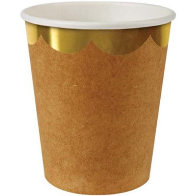 Kraft Paper Cup with Gold Rim Party Supplies