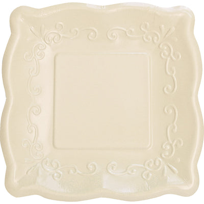 Linen Coloured Square Embossed Party plates