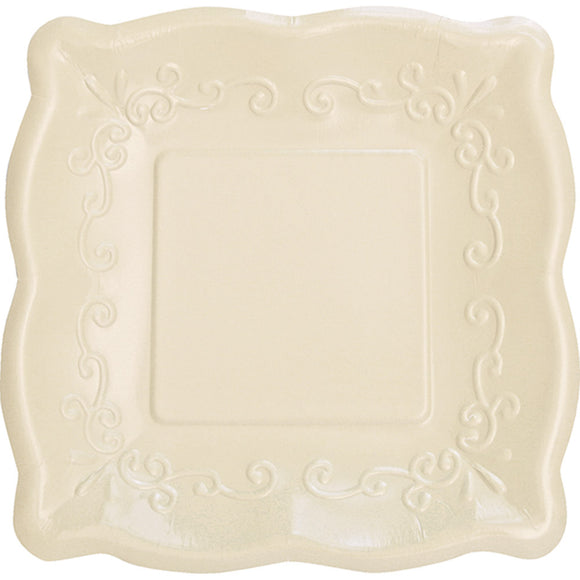 Square Scalloped Plates - Linen