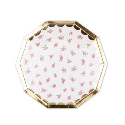 Beautiful party plates with gold foil rim and delicate tea roses.