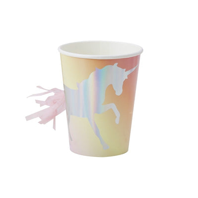 Unicorn Paper Cup with Tassel tail party supplies