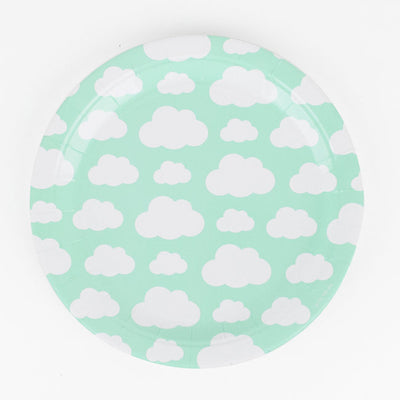 Round Blue Party Plates with Cloud Design