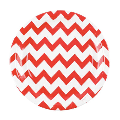 Red and White Chevron Paper Party Plates