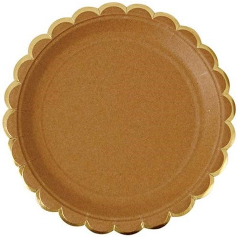 Kraft paper Plate with Scalloped edges party supplies
