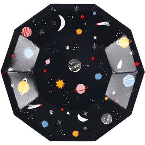 Black Space Plates Party Supplies