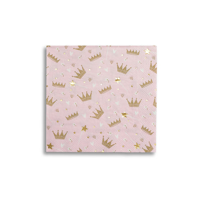 Pink Napkins with Gold Crown Details