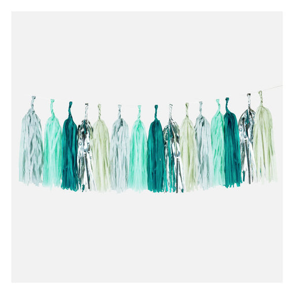 Green and Silver Tassel Garland Decor