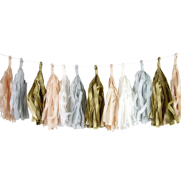 Gold, Silver and Blush Tassel garland