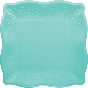 Square Scalloped Plates - Teal