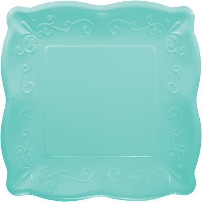 Teal Coloured Square Embossed Party plates