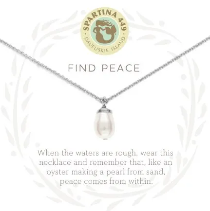 "Spartina Sea La Vie Necklace 18"" Find Peace/Pearl SIL"