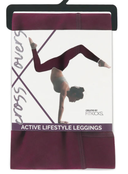 Fitkicks Crossover Leggings- Burgundy