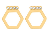 Whispers Hexagon with Clear Stones Earrings